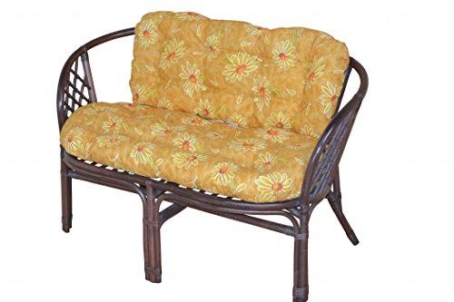 2-Sitzer Rattanbank mit Kissen 9091.11-B in braun gebeizt und lackiert mit geben Kissen im Blumen-Design von Heinz Hofmann