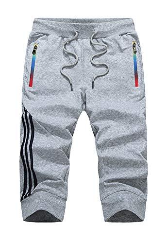 Flygo Men's 3/4 Capris Jogger Pants Fitness Athletic Track Shorts Sweatpants (X-Large, Grey)