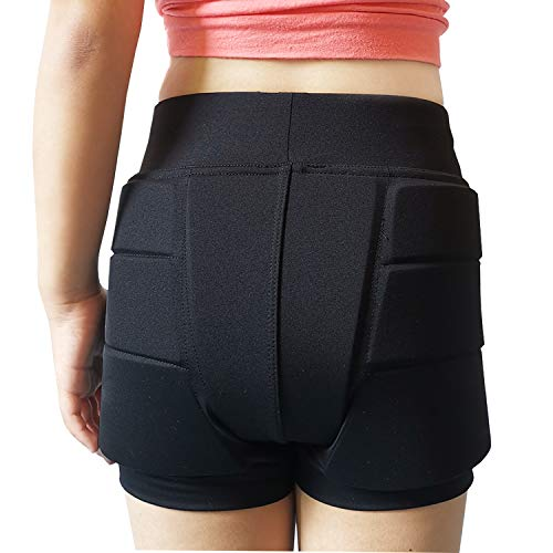 Youper Girls Protective Padded Shorts for Skating, Skateboarding, 3D Protection for Hip & Tailbone Black