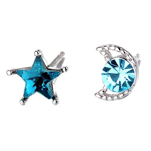 Orecchini a perno placcati in argento Sterling 925 con cristallo zaffiro blu cielo irregolare luna e stella