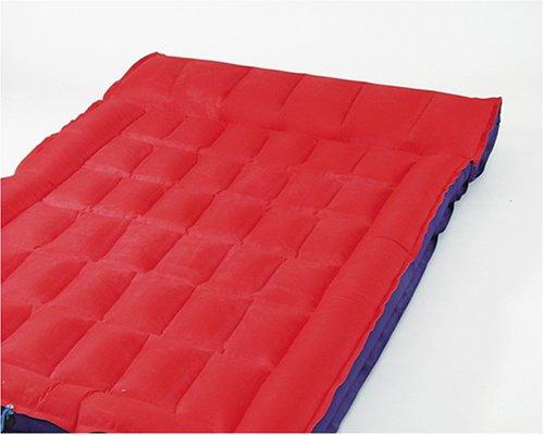 Happy People Unisex– Erwachsene Doppelboxmatratze, ca.195x117cm(aufgeblasen),ca.200x127cm(unaufgeblasen), PVC mit Mikrofaser Beschichtung, blau/rot