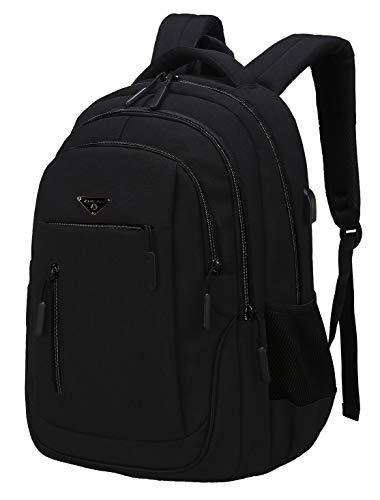 Rucksack Schule, Multifunktion Daypacks Schulrucksack Jungen Teenager Business Laptop Rucksack für Herren, USB Charging Port (01 Schwarz, 15,6 Zoll)