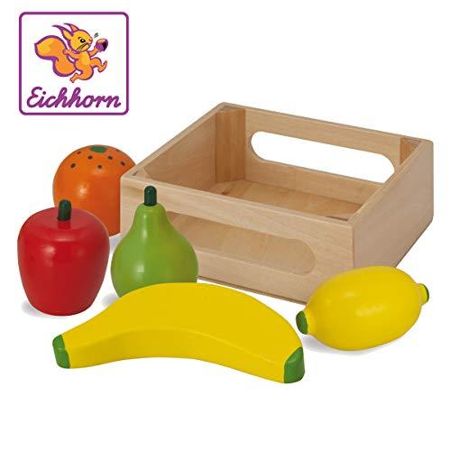 Eichhorn 100003734 - Holzbox mit Früchten, enthält Banane, Orange, Apfel, Zitrone, Birne, 13x12,5x5cm, 6-tlg., Birkenholz