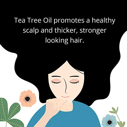 Pure Tea Tree Oil Shampoo - Natural Essential Oil Anti-Dandruff Shampoo For Dry Itchy & Flaky Scalp - Anti-fungal & Anti-Bacterial - Sulfate Free Hydrating Cleanser - Prevent Head Lice & Thinning Hair