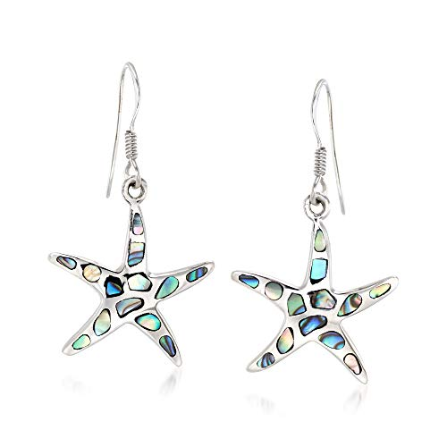 Ross-Simons Abalone Shell Starfish Drop Earrings in Sterling Silver