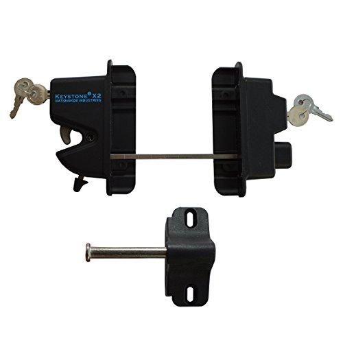 Black Nylon Polymer Keystone X2 External Gate Latch with External Access | Keyed Alike | KLX2-P2-BK-KA