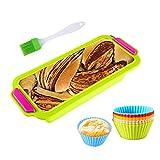 Moldes de panadería, moldes de Pan Rectangular, 12 en 1 Kit, Moldes para Hornear Pan Antiadherentes, Tostadas de Silicona, moldes no pegajosos para tortas y Pan caseros, Taza de muffin