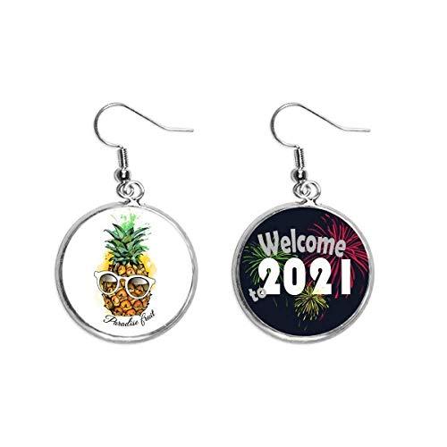 Gafas de sol PineFruit Tropical Fruit Oído Colgantes Pendientes Joyería 2021 Bendición