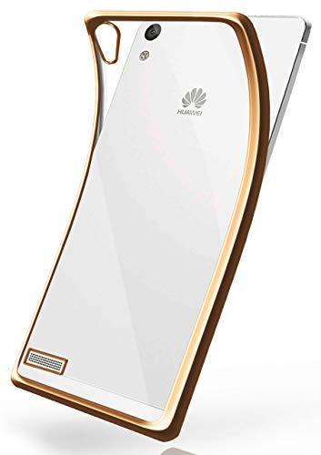 MoEx Funda de Silicona Transparente de Estilo Cromado Compatible con Huawei Ascend P6 | doré