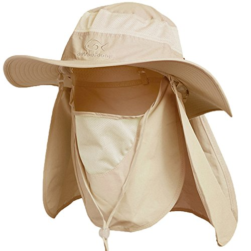 Ddyoutdoor 07-281 Fashion Summer Outdoor Sun Protection Fishing Cap Neck Face Flap Hat Wide Brim (Khaki)