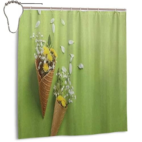 KENADVI Waschbar Bad Duschvorhang,Naturfarben Frühlingswiese Blumen In Eistüten,Mit Haken Wasserdicht Polyestergewebe Badezimmer Dekor 66X72 In