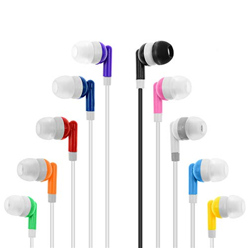 Wholesale Kids Bulk Earbuds Headphones Earphones Assorted Colors for Schools, Libraries, Hospitals,Gifts Individually Bagged (30pack)