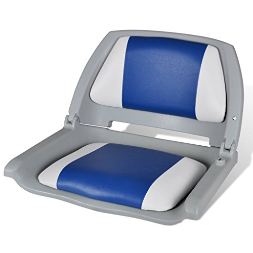 Festnight Klappbar Bootssitz Bootsstuhl Steuerstuhl Anglerstuhl Klappstuhl Blau-weiß 41 x 51 x 48 cm