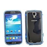 Diseño de silicona funda para Samsung i9500 i9505 Galaxy S4 SIV azul transparente protectora de borde carcasa rígida con marco protector de esquina, nuevo