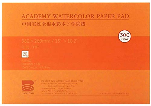 MEEDEN 15×10.2' Cotton Watercolor Paper Smooth Surface Watercolor Pad, Hot Pressed, 140lb/300gsm, 20 Sheets
