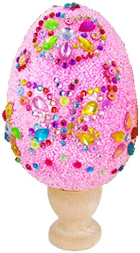 Colorida Huevos Plásticos Huevos de Pascua ,Huevos de purpurina hechos a mano para niños, Huevos sorpresa de plástico,Pegatinas de Diamantes de Imitación para niños Manualidades de Actividades-rosa