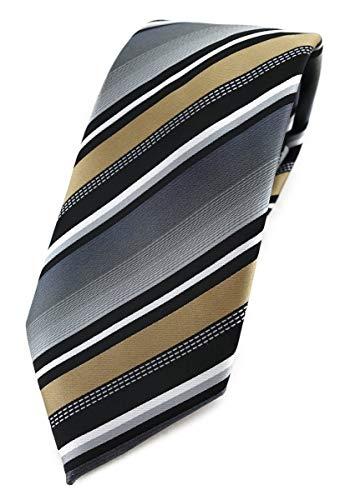 TigerTie Corbata de diseño en rayas – Ancho de corbata 8 cm. dorado, plateado, gris, blanco, negro. Talla única