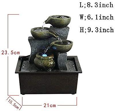 Fuente de agua del jardín de rocalla,Decoración del hogar Fengshui decoración interior Decoracion bonsai Fuente de mesa de columnas estratificadas Fuente de mesa-Fuente de escritorio 9.3pulgada: Amazon.es: Hogar