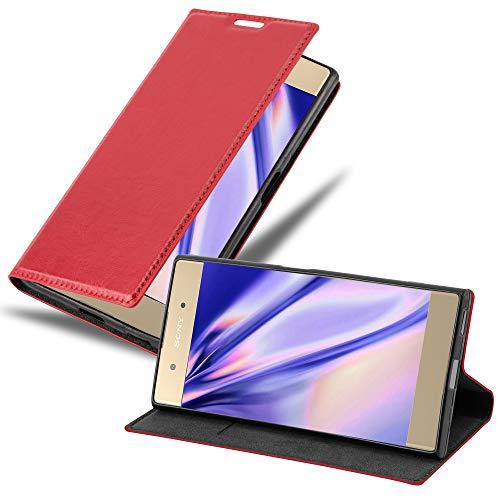 Cadorabo Hülle für Sony Xperia XA1 Plus - Hülle in Apfel ROT – Handyhülle mit Magnetverschluss, Standfunktion & Kartenfach - Hülle Cover Schutzhülle Etui Tasche Book Klapp Style