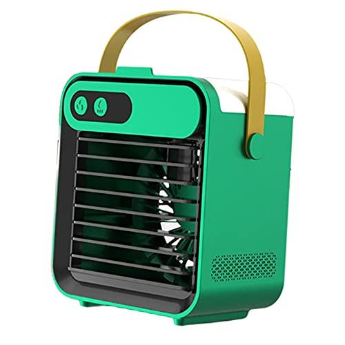 #N/A/a Mini USB portátil Aire Acondicionado Ventilador Enfriador de Aire Ajustable 3 velocidades con Espejo de Maquillaje Oculto para la habitación Oficina - Verde