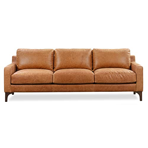 Poly and Bark Sorrento Leather Modern Sofa in Cognac Tan/Brown