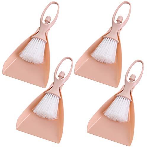 iplusmile Bürstenset - Besen- Und Kehrschaufelset Kehrschaufel-Reinigungsbesen für Tischschreibtisch Arbeitsplatte Tastatur Katzenhund (Pink 4 Stück)