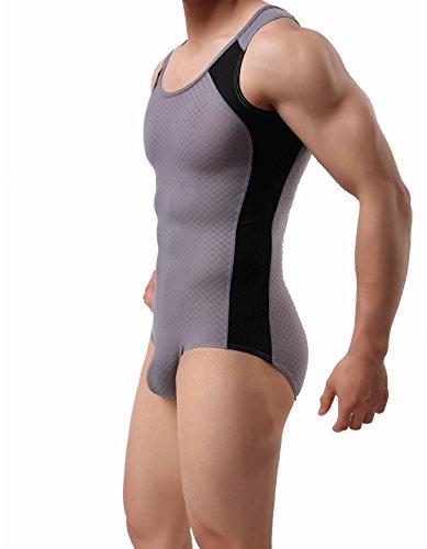 BRAVE PERSON Men's Figure-Shape Bodysuits Elastic Workout Clothes Swimwear 2241 (L / 30'-35'', 001- Gray)