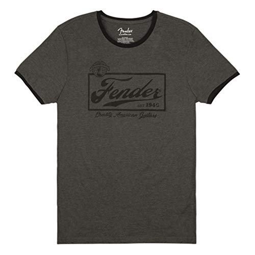 Fender Bier Label Ringer Heren T-Shirt - Maat S - Grijs