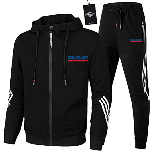 CONVERMPU Zipper Trainingsanzug Set Zweiteilig für D.A-F Geeignete Herren und Damen Streifen Kapuzen Jacke + Hose (Sportwear) Z/Schwarz/M sponyborty