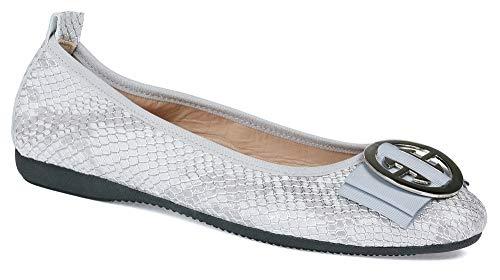 La Ballerina Linda - Nappaleder Python Print Elegante Silberne Runde Schnalle (36 EU, Grau/Silber)