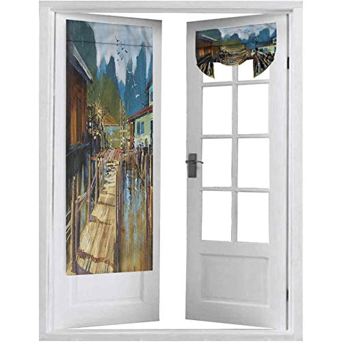 Blackout French Door Curtain, Scenery,Pier Oil Painting Style, 1 Panel-26' X 68' Room Darkening Curtains for Patio Door