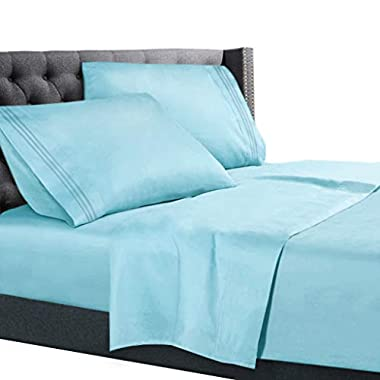 King Size Bed Sheets Set Light Baby Blue, Bedding Sheets Set on Amazon, 4-Piece Bed Set, Deep Pockets Fitted Sheet, 100% Luxury Soft Microfiber, Hypoallergenic, Cool & Breathable