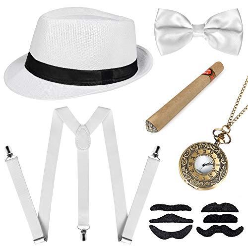 Sinoeem 1920s Herren Accessoires Inklusive Panama Gangster Hut Verstellbar Elastisch Hosenträger Herren Halsschleife Fliege Taschenuhr und Plastik Zigarre (Weiß)