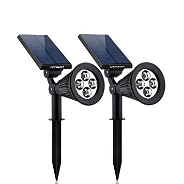 URPOWER Solar Lights, 2-in-1 Waterproof 4 LED Solar Spotlight Adjustable Wall Light Landscape Light Security Lighting Dark Sensing Auto On/Off for Patio Deck Yard Garden Driveway Pool Area(2 Pack)