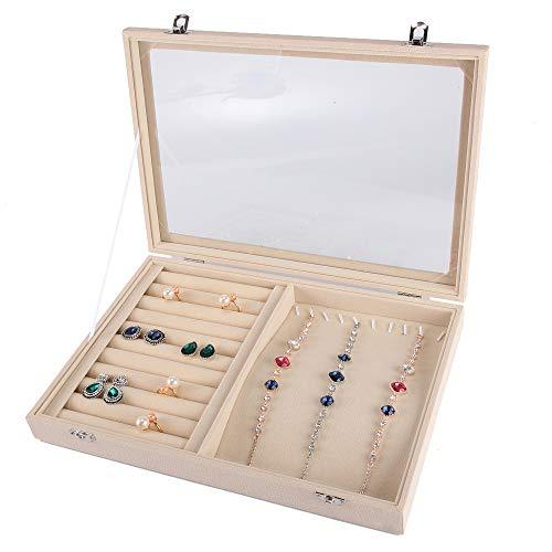 POFET Caja de joyería con ranura multifunción con tapa de cristal, bandeja de cristal de terciopelo para exhibición y almacenamiento, organizador de joyas para collares pulseras anillos y pendientes