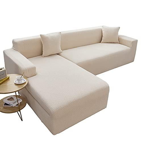 Funda para Sofá en Forma de L, Funda Seccional para Sofá Protector de Muebles Universal Lavable Estiramiento Jacquard Chaise Lounge Funda de Sofá para Sala de Estar,Beige,2+3 Seater