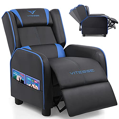 Vitesse Kids Recliner Sofa Youth PU Leather Gaming Recliner Armchair Ergonomic Racing Game Sofa for Children Boys Girls with Footrest, Padded Backrest and Lumbar Support Lightweight Sofa Chair(Blue)