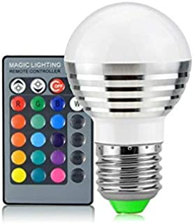 SGJFZD 3W RGB LED Bulb 16 Color Magic Night LED Light Bulb Lamp Dimmable Stage Light with 24-Keys Remote Control E27