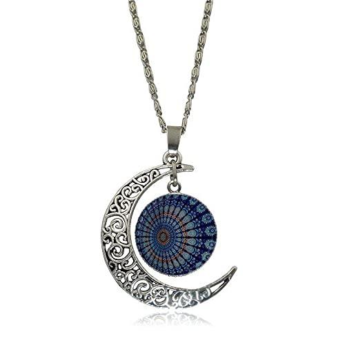 Bonito Collar Con Colgante De Cristal Con Flor De Mandala De La India, Collar Con Colgante De Media Luna Hecho A Mano Para Mujer, Gargantilla, Longitud: 50 Cm