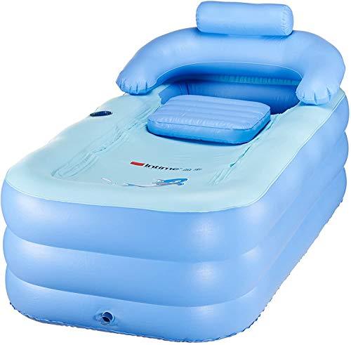 Wangkangyi Faltbares Schlauchboot Dick Warm Erwachsene Badewanne Kinder Aufblasbares Becken Portable Reise Pool (Blau)