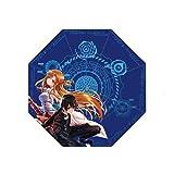 FUYUNDA Sword Art Online/Kirigaya Kazuto, Yuuki Asuna/Paraguas de Anime 3D / Paraguas de Viaje Ligero/Paraguas de Sol/Protección Solar a Prueba de Viento contra la Lluvia/Paraguas Compacto /