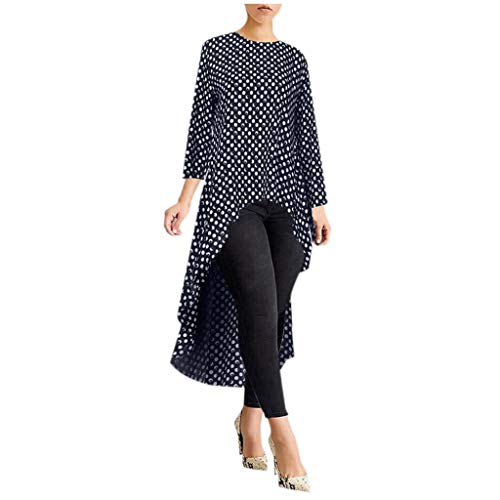 Auifor vrouwen lange mouwen symmetrisch hemd overstijgt high low plus blouse