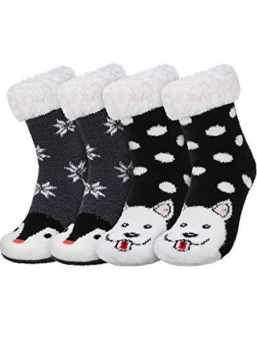 SATINIOR 2 Paare Winter Warme Pantoffel Socken Niedliche Tiermuster Flockige Socken für Frauen (Stil Set 3)