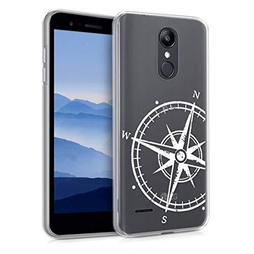 kwmobile Hülle kompatibel mit LG K8 (2018) / K9 - Hülle Silikon transparent Kompass Vintage Weiß Transparent