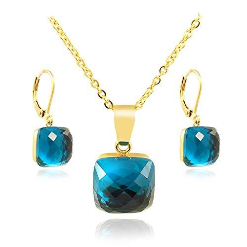 nobel-schmuck Schmuckset Blau Gold mit Kristallen von Swarovski® Indicolite