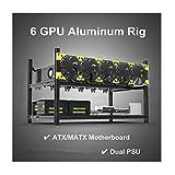 RXFSP 6/8 GPU Aluminum Stackable Open Air Mining Computer Frame Rig Ethereum Veddha (6 GPU)