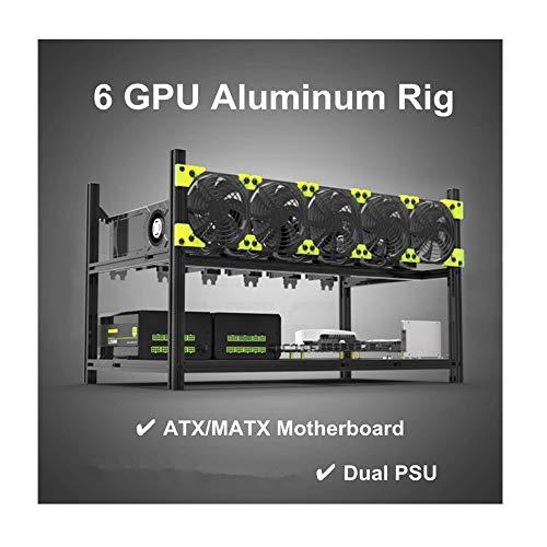 RXFSP 6/8 GPU Aluminium stapelbar Open Air Mining Computer Rahmen Rig Ethereum Veddha (schwarz, 6 GPU)