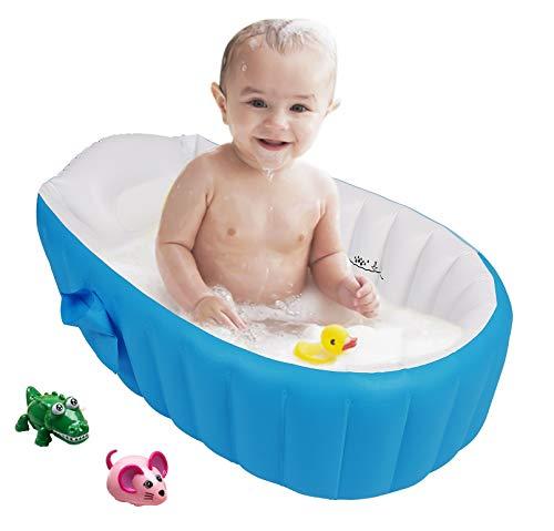 Bañera para Bebe Hinchable Plegable de Viaje Ducha Para Niños Recién Nacidos (Azul)