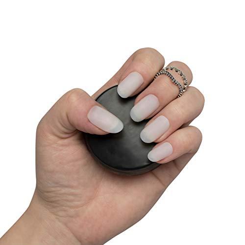 By Vixi 600 Stück Kurz Oval Nägel in 10 Größen – Kurz Opak künstliche Nägel vollständiger Abdeckung – mit GRATIS KLEBER & VORBEREITUNGSFEILE