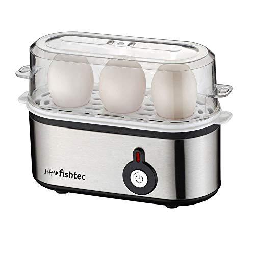 FISHTEC ® Eierkocher 3 Eier - Einfach zu bedienen - 210 W